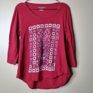 Lucky Brand Red 3/4 Sleeve Patterned Top